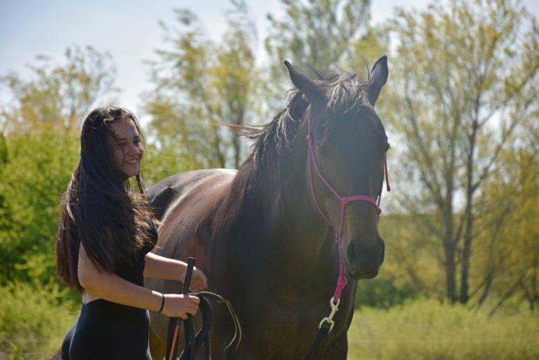 fiatal lány lóval